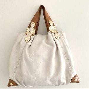 Michael Kors hinge buckle bag cream soft leather